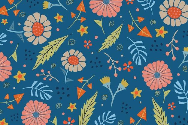 Mano floral dibujar patrón de fondo azul