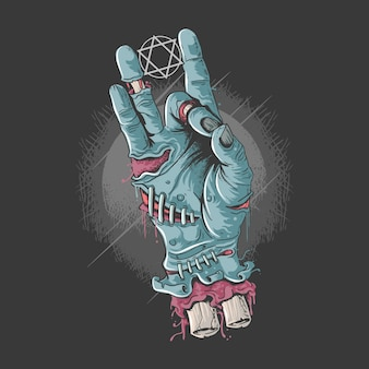 Mano fría zombie con huesos y sangre ilustraciones