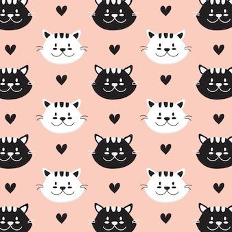 Mano de gato dibujado a mano patrón de estilo