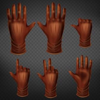 Mano en gestos de guantes de cuero en diferentes posiciones conjunto aislado sobre fondo transparente.