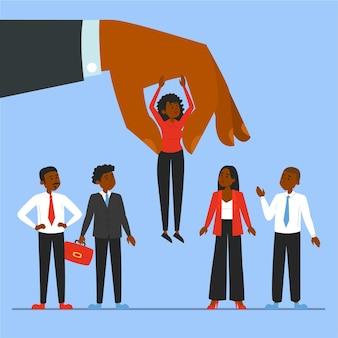 Mano gigante eligiendo candidato para un trabajo