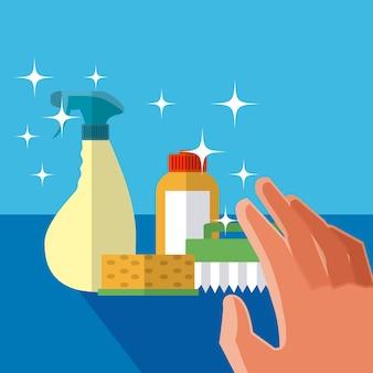 Mano grabbing concepto de productos de limpieza caricaturas