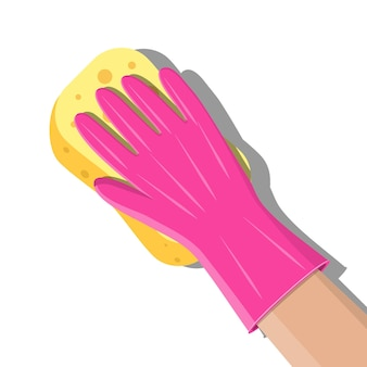 Mano en guantes con pared de lavado de esponja en baño o cocina. servicio de limpieza. esponja de lavado. estropajos para utensilios de cocina. accesorios para herramientas de limpieza de cocinas y baños. ilustración de vector de estilo plano