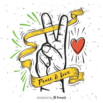 Mano haciendo el símbolo de la paz dibujada a mano