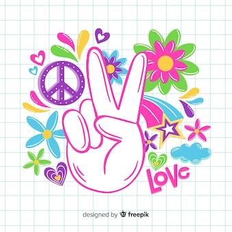 Mano haciendo el símbolo de la paz vintage