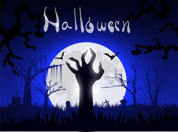 Mano haloween zombie desde el suelo en la noche y la gran luna