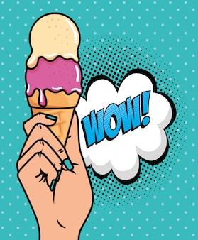 Mano con helado y wow expresión estilo pop art