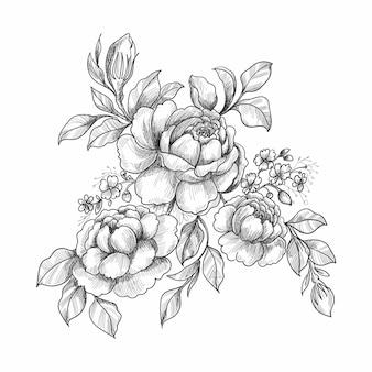 Mano hermosa dibujar boceto boda diseño floral