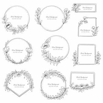 Mano hermosa dibujar diseño de conjunto de marco floral decorativo