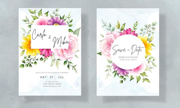 Mano hermosa dibujo invitación de boda acuarela diseño floral