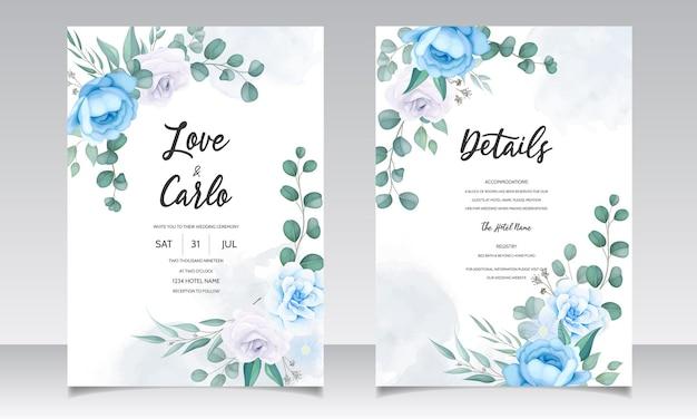 Mano hermosa dibujo invitación de boda diseño floral azul