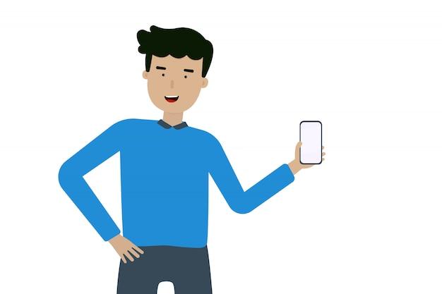 Una mano de hombre feliz en un teléfono móvil