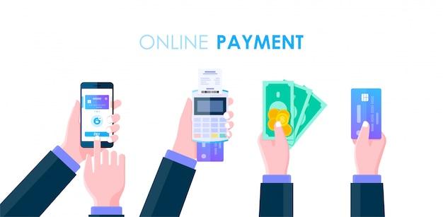 Mano de hombre de negocios con efectivo, teléfono inteligente, dinero y tarjeta de crédito para concepto de pago en línea, sociedad sin efectivo, banca móvil en línea y diseño plano de banca por internet.