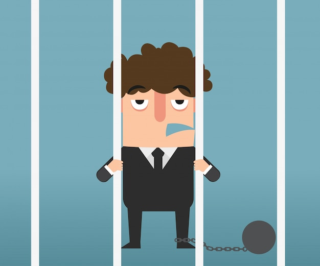 Mano del hombre de negocios que sostiene las barras de metal en la ilustración de la cárcel.