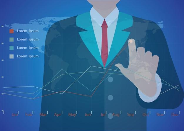 Mano del hombre de negocios que trabaja con el nuevo ordenador moderno y la estrategia empresarial como concepto.