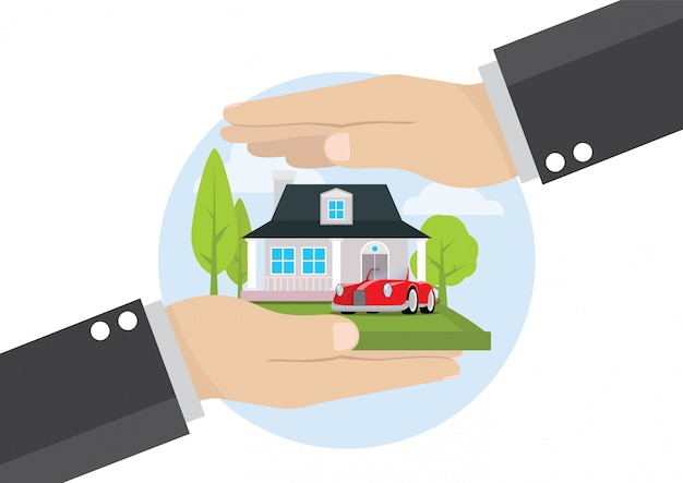 Mano de hombre de negocios con servicio comercial de seguros de hogar