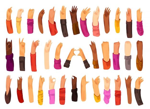Mano humana con colección de signos y gestos con las manos: ok, amor, saludos, agitando las manos, control del teléfono y la aplicación con los dedos, puño en alto. hombre y mujer de diferente nacionalidad, conjunto de manos multirraciales