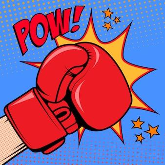 Mano humana en estilo pop art con guantes de boxeo. pow. elemento de diseño para póster, folleto.