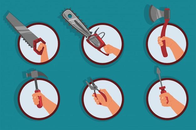Mano humana con herramientas de reparación