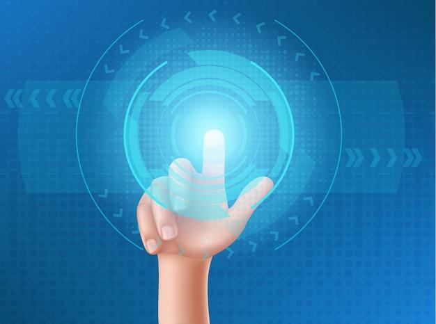 La mano humana presiona el botón en la pantalla de visualización