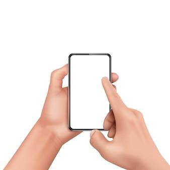 Mano humana realista 3d que sostiene smartphone y pantalla táctil.