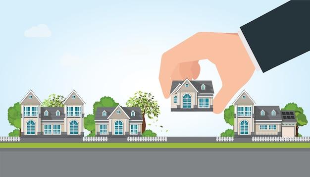 Mano humana seleccionar a la celebración de una casa adecuada, ilustración vectorial.