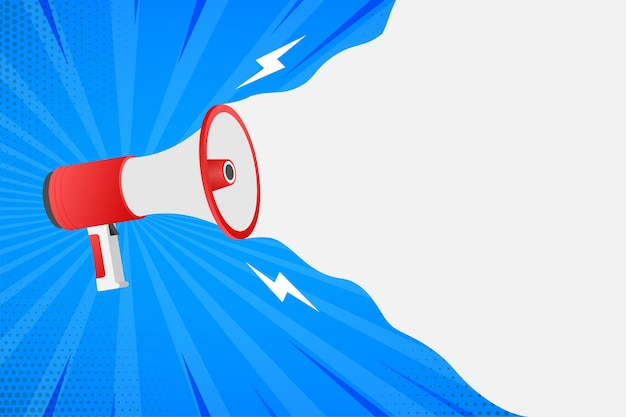 Mano humana sosteniendo megáfono. concepto de marketing en redes sociales.
