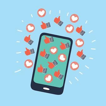 Mano humana sosteniendo teléfono móvil con emoticonos de retroalimentación de redes sociales pulgares arriba