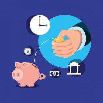 Mano con iconos fijados economía finanzas