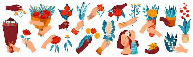 Mano con ilustración de flores, mano humana de dibujos animados sosteniendo un montón de flores de colores, dando iconos de ramo de flores de regalo