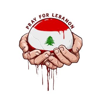 Mano con la ilustración de vector de icono de bandera de líbano