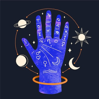 Mano ilustrada con elementos astrológicos.