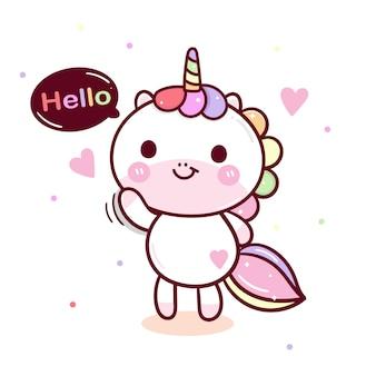 Mano de kawaii dibujado unicornio vector saludo postura
