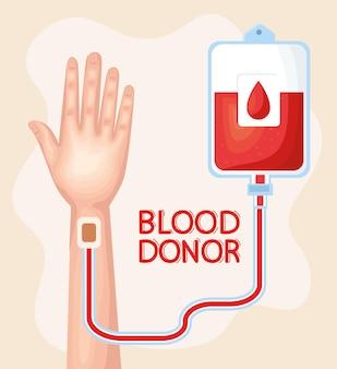 Mano y letras de donante de sangre