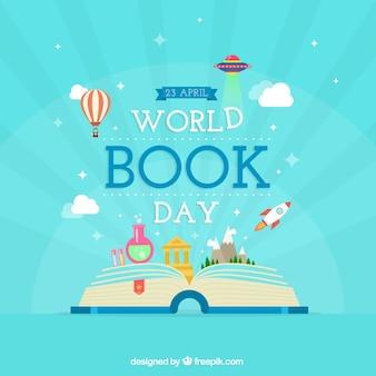 Mano libro elaborado con fantásticas historias de fondo