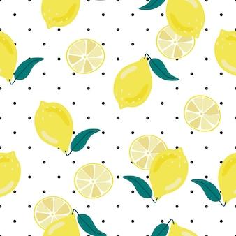 Mano linda dibujar limón amarillo sobre fondo de puntos de patrones sin fisuras