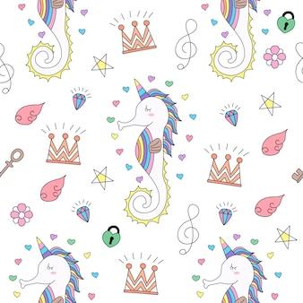 Mano linda de la historieta del unicornio del modelo inconsútil dibujada.