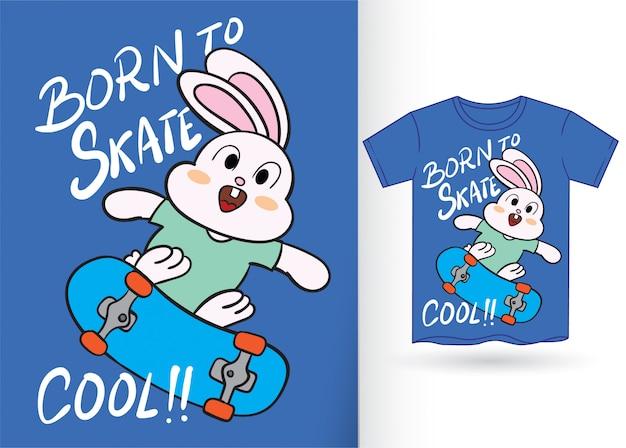 Mano linda del patinador del conejito dibujada para la camiseta