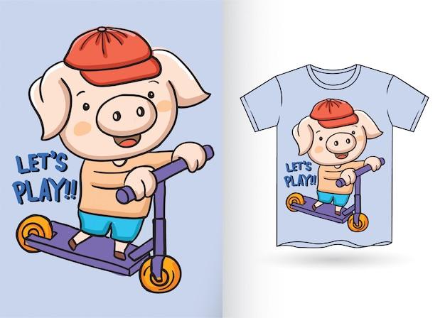 Mano linda del pequeño cerdo dibujada para la camiseta