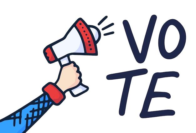 Mano masculina megáfono con bocadillo de votación. dibujado a mano doodle altavoz. ilustración.