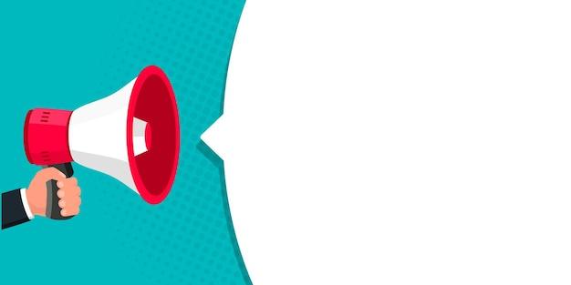 Mano masculina que sostiene el megáfono con el altavoz de la burbuja del discurso se puede utilizar para los negocios