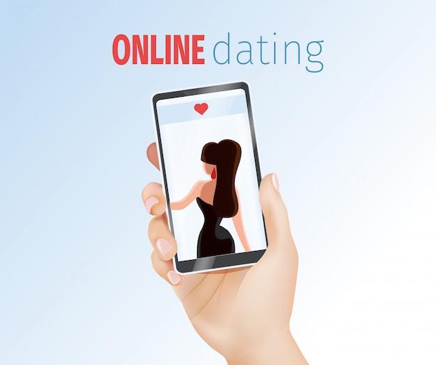 Mano masculina sosteniendo teléfono con mujer hermosa
