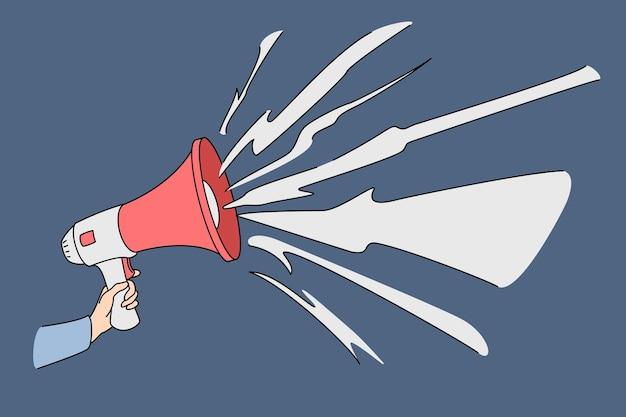 Mano con megáfono hablando en voz alta. ilustración del concepto de vector de altavoz de marketing promocional de publicidad.