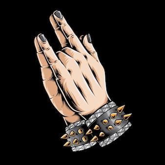 Mano de metal rezando aislada en negro