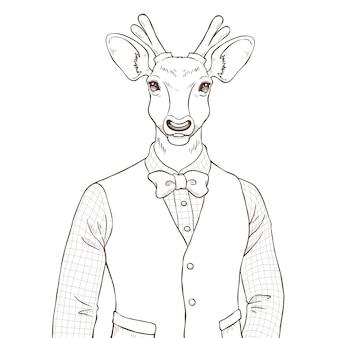 Mano de moda retro dibujar ilustración de ciervos, le en blanco y negro
