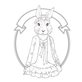 Mano de moda retro dibujar ilustración de conejo, le blanco y negro