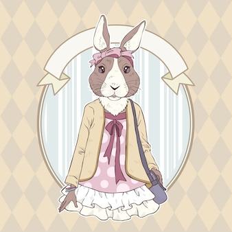 Mano de moda retro dibujar ilustración de conejo