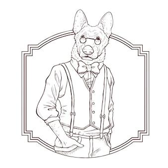 Mano de moda retro dibujar ilustración de perro, le blanco y negro