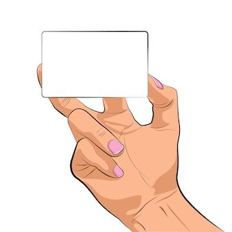 La mano muestra la tarjeta de borde vacía