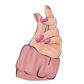 Mano de mujer hermosa con esmalte de uñas desnudo.